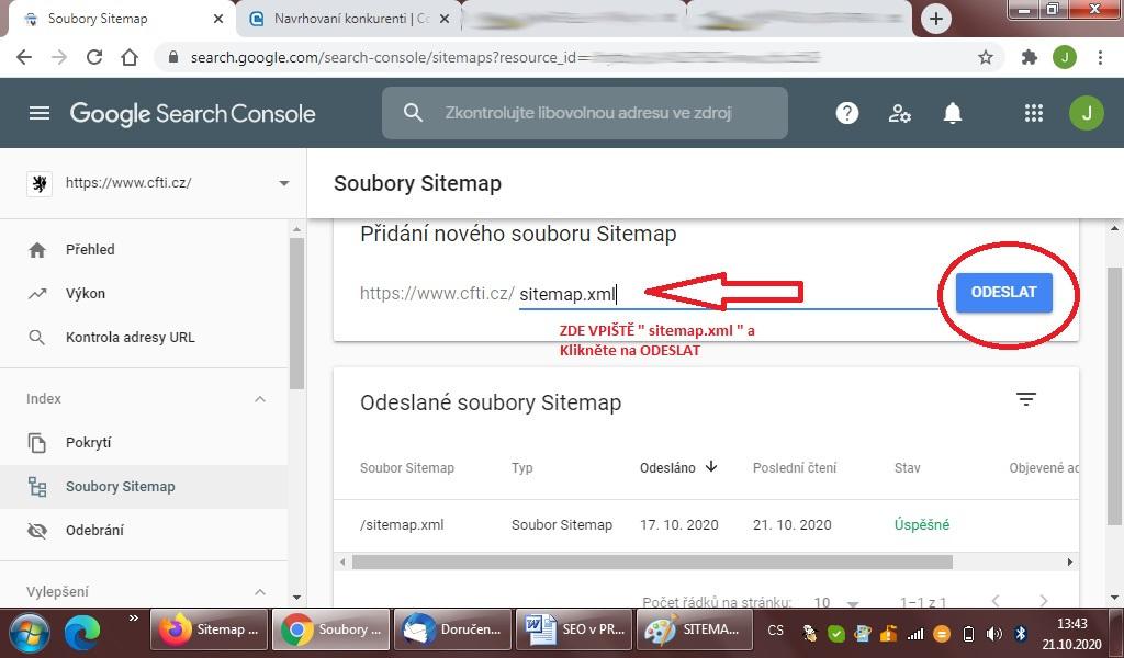 Nahrání souboru sitemap a indexování stránek v google search console