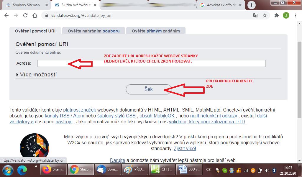 Kontrola chyb v programovancím kódu HTML