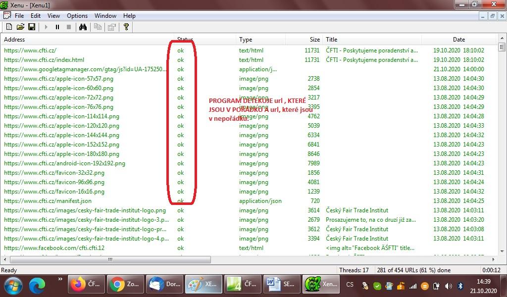 Oprava Broken Links Xenu software